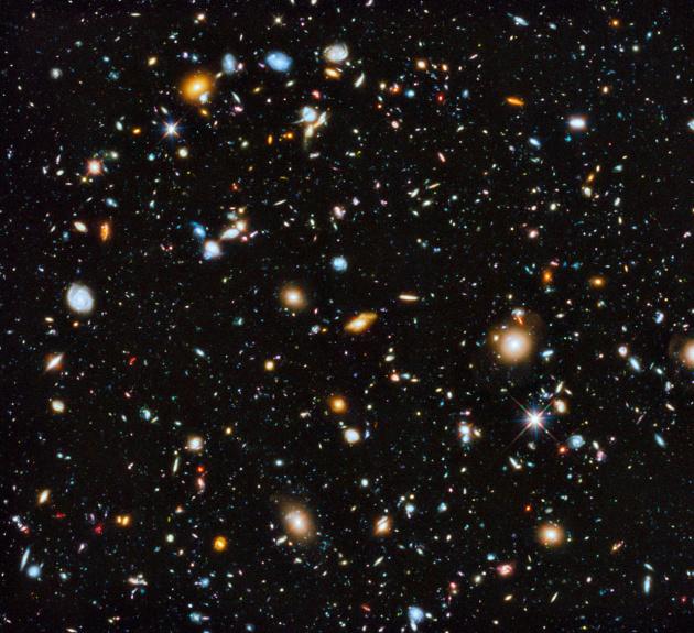 Мир далеких галактик, видимых с помощью космического телескопа имени Хаббла на расстояниях от одного до 14 миллиардов световых лет от Земли. Каждое светящееся пятнышко на этом снимке – это галактика, то есть звездная система типа нашего Млечного Пути
