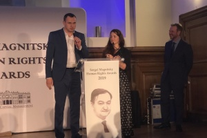 Oleg Sentsov a reçu le prix Sergueï Magnitski à Londres