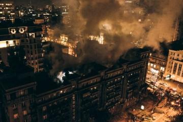 Sechsstöckiges Wohnhaus brannte in Zentrum Kyjiws