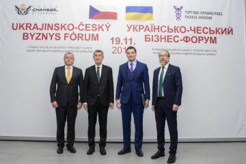 Olexiy Hontcharuk et Andrej Babišont participé au forum économique ukraino-tchèque