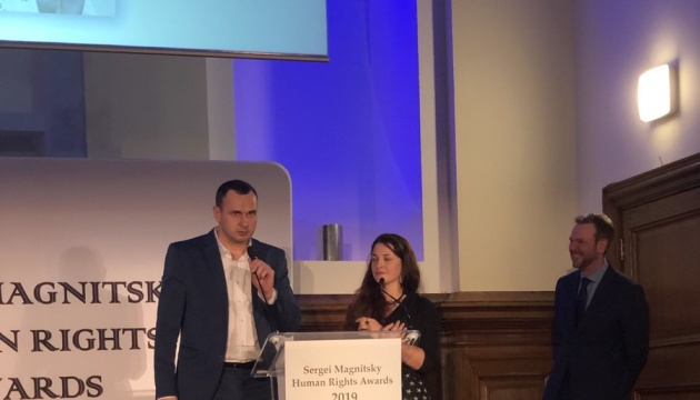 Oleg Sentsov accepts Magnitsky Human Rights Award in London