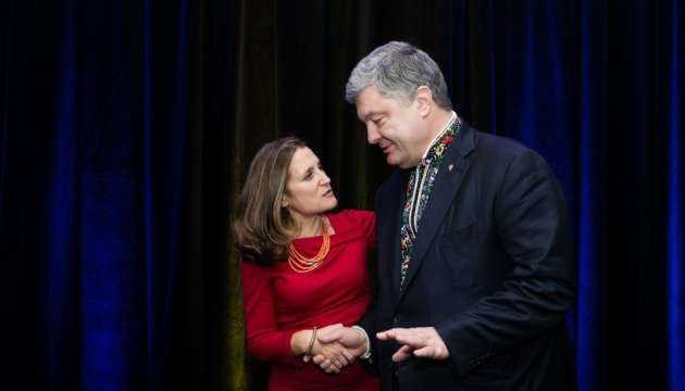 Poroshenko meets with Freeland in Canada