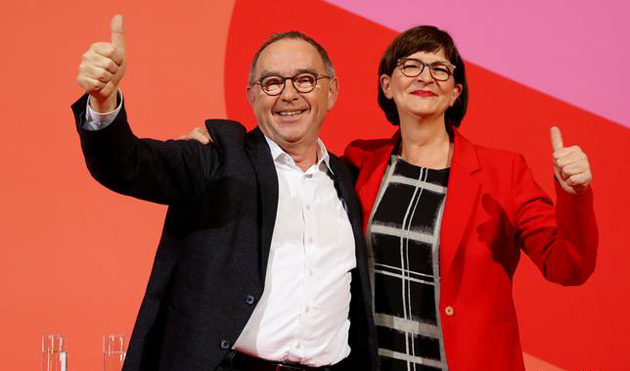 Норберт Вальтер-Борйанс (ліворуч) та Саскія Ескен очолять СДПН / Фото: https://www.dw.com
