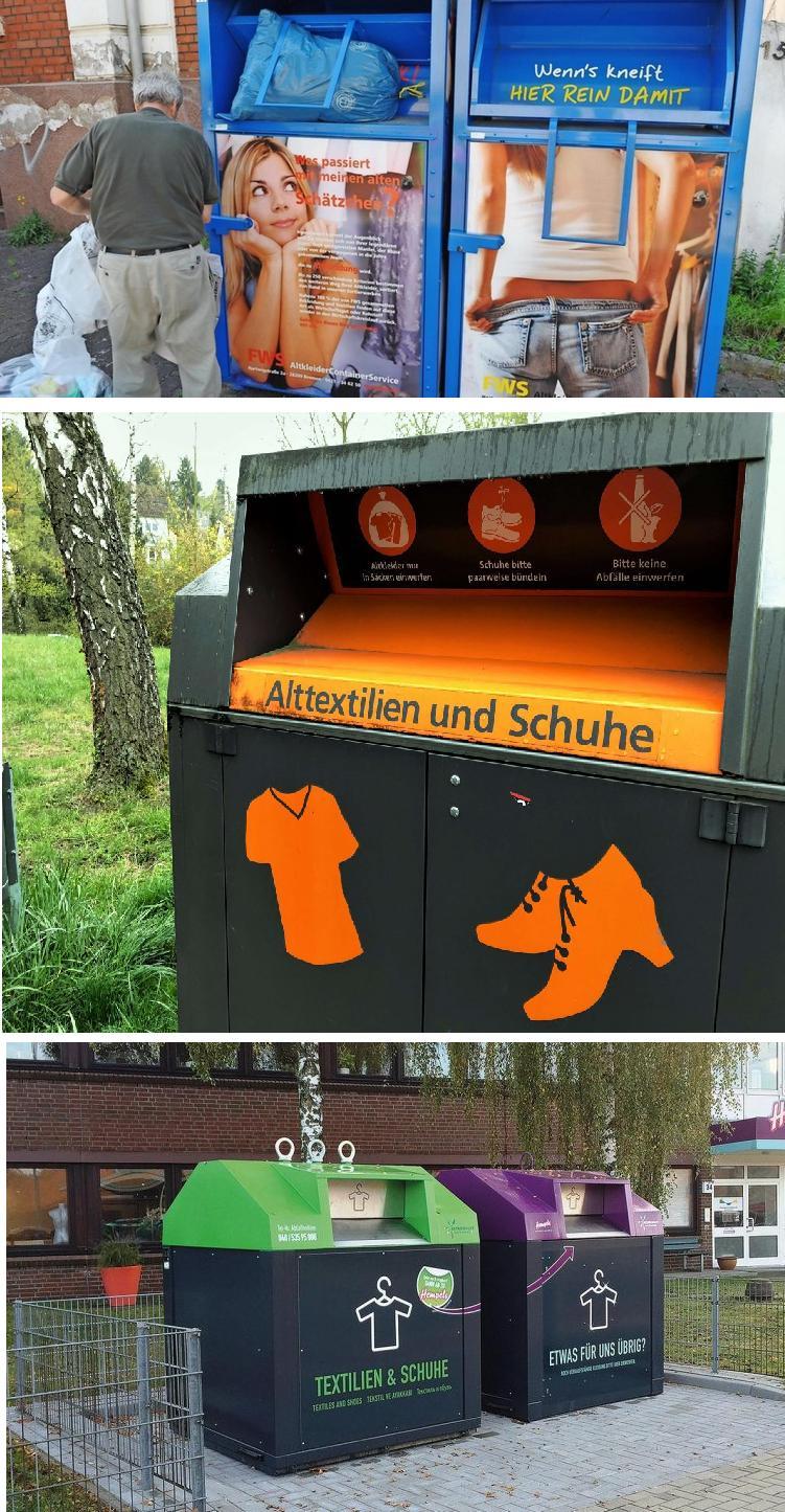Cпеціальні контейнери для старого одягу і взуття є в кожному районі німецьких міст