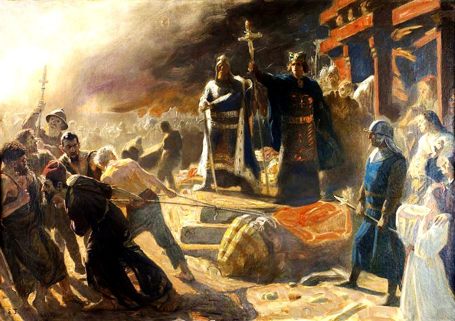 художник Лауріц Тукса, «Єпископ Абсалон скидає ідола слов'янського бога Святовита в Арконе»