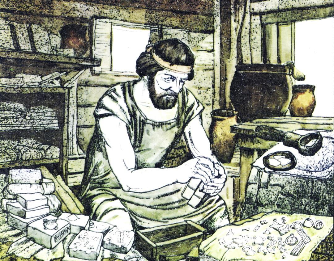 Слов'янський ювелір за роботою. Реконструкція за матеріалами ювелірної майстерні, дослідженої на поселенні Бернашівка на Дністрі