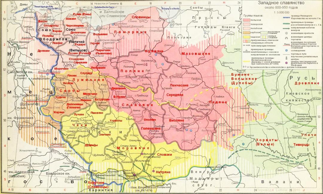 Західні слов'яни у 800-950 рр._ переклад польської карти_ досить докладно представлені полабські та поморські землі