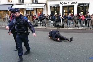 「プーチンの戦争を止めろ!」 FEMEN活動家、パリで抗議