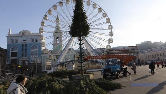 キーウ市内、新年ツリーの設置作業開始 今冬は2本