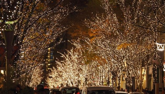 Японские улицы украсили к Рождеству