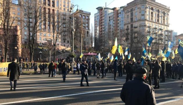 """Proteste gegen Bodenhandel; """"Nationales Korps"""" blockiert Chreschtschatyk"""