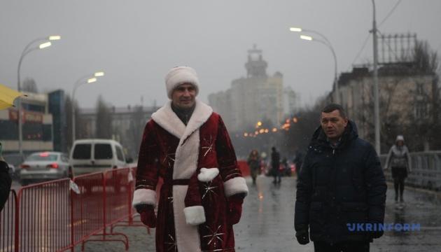 Kyiv mayor dressed as Santa Claus opens Shuliavsky overpass