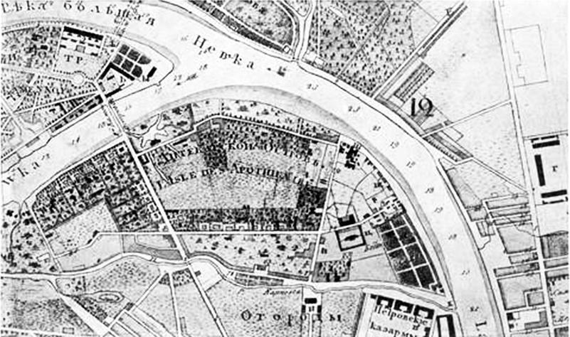 План Санкт-Петербурзького ботанічного саду, 1843 р.