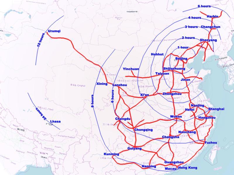 Час від Пекіна до адміністративних і економічних центрів