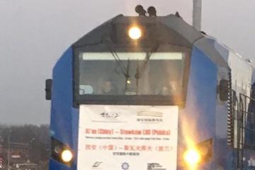 中国発ポーランド行の貨物列車がウクライナを通過