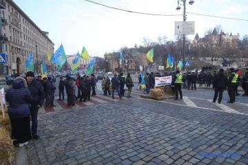 Les opposants à la loi « foncière » ont bloqué une rue dans le centre de Kyiv