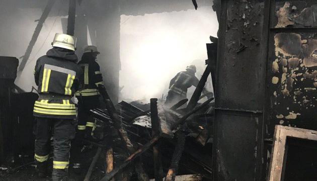 В Киеве горели гаражи с автомобилями