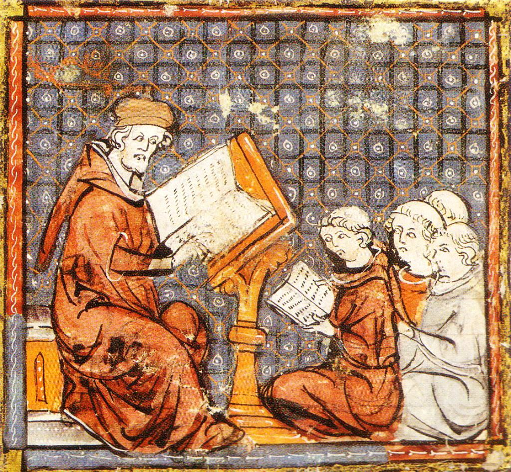 лекція у середньовічному університеті, графюра