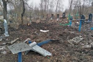 Ocupantes disparan con artillería contra el cementerio de la ciudad de Popasna