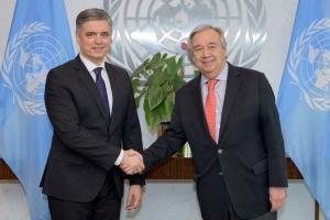 Prystaiko et le secrétaire général de l'ONU discutent de l'agression russe contre l'Ukraine