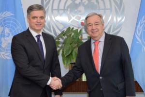 Außenminister Prystaiko und UN-Generalsekretär sprechen in New York über Zusammenarbeit und russische Aggression