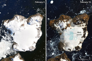 NASA показало быстрое таяние ледяной шапки в Антарктиде