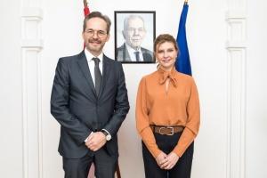 Олена Зеленська обговорила з австрійським послом безбар'єрне середовище
