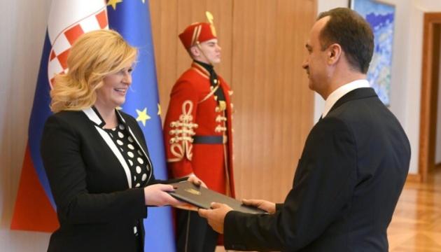 Embajador de Ucrania presenta credenciales a la presidenta de Croacia