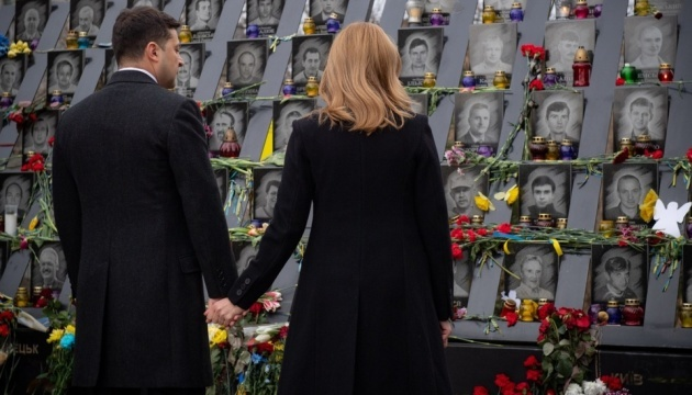 President of Ukraine, First Lady commemorate Heroes of Heavenly Hundred