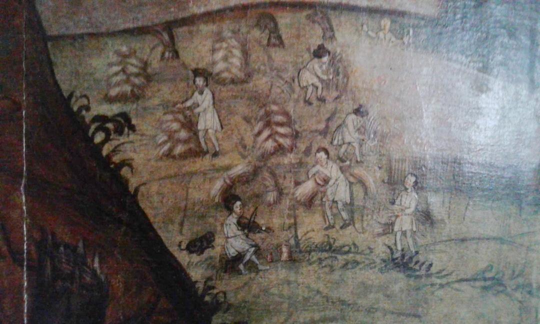 """12 фрагмент ікони """"Пророк Даніїл"""" у ямі з левами, середини XVII століття_ добре видно сермяги та неширокі штани"""