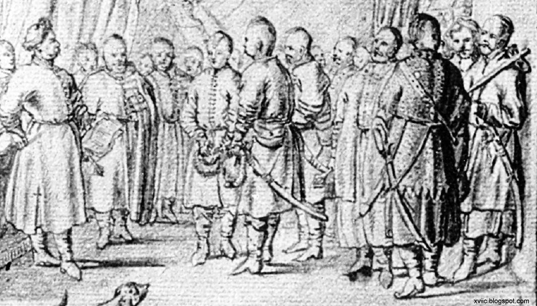 11 11 гравюра А. ван Вестерфельда, козацькі посли у Януша Радзівіла_ ліворуч, ймовірно, - у вузьких убранє, праворуч - у нешироких штанах