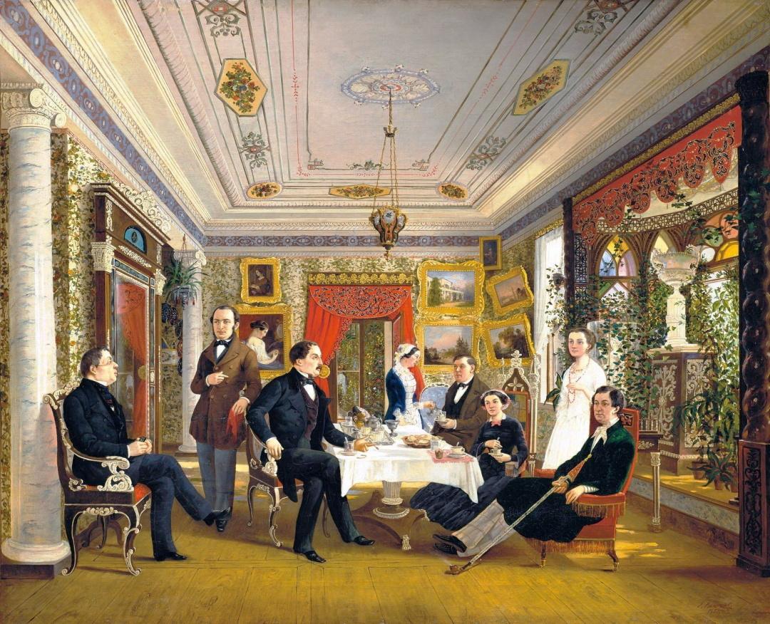 За чайним столом, художник Олексій Волосков, картина, написана в садибі Г.С.Тарновського Качанівка, 1851 р. А