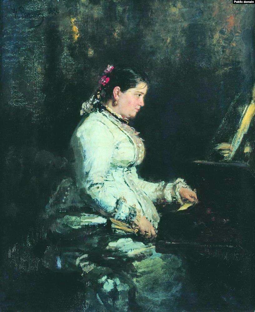 Ілля Рєпін, «Біля рояля», Софія Тарновська за роялем, І1880 р.