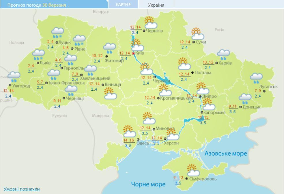 Синоптики прогнозують потепління у вихідні