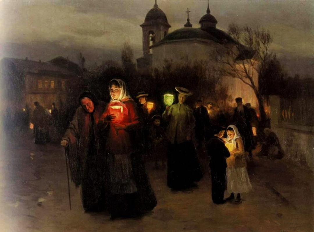 Вихід із церкви у Великий четвер, 1907 р.