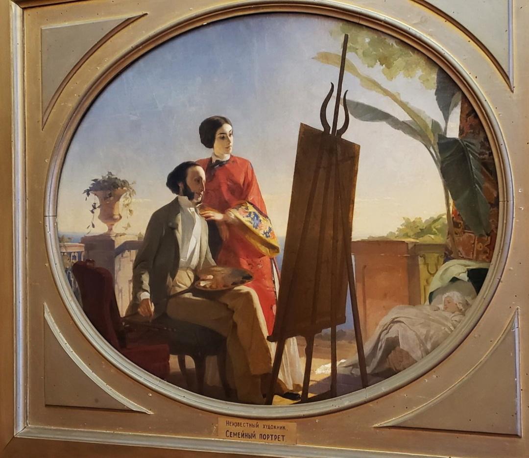 невідомий художник, Сімейний портрет - Іван Айвазовський з дружиною Юлією 1
