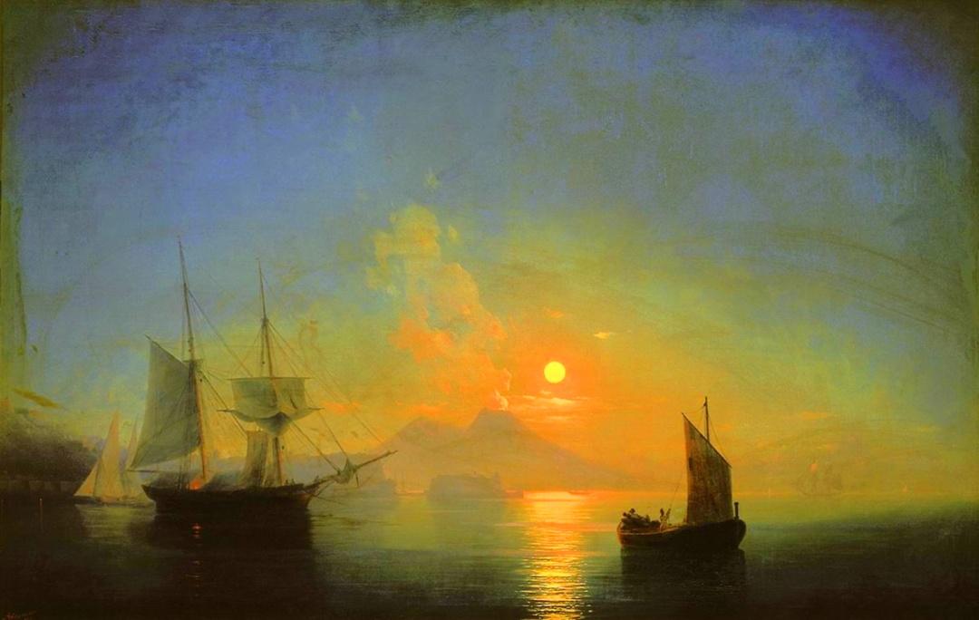 Неаполітанська затока місячної ночі. Везувій, 1840 р.