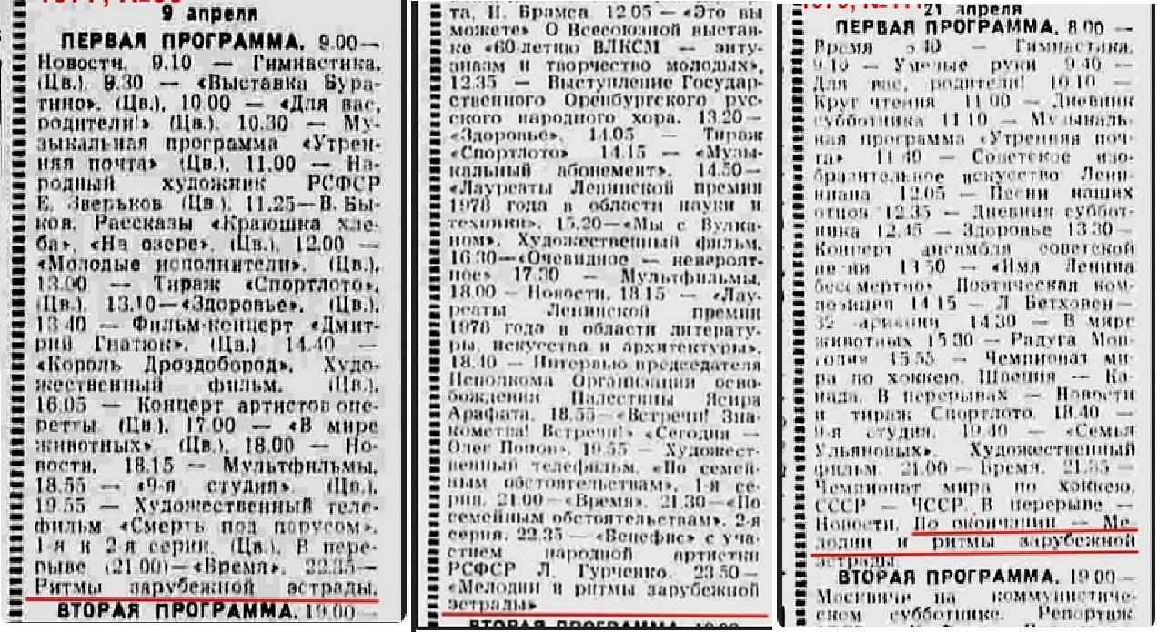 Телепрограма на Великдень 1977, 1978 та 1979 рр.