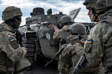 Ukrainian troops come under 82mm mortar fire near Novotoshkivske