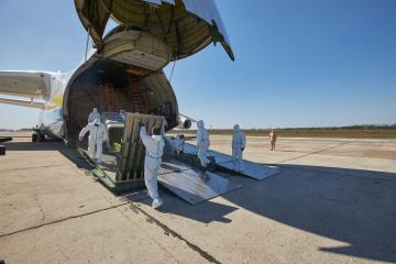Mriya entrega a Ucrania una carga médica que podría incluirse en el Libro Guinness de los Récords