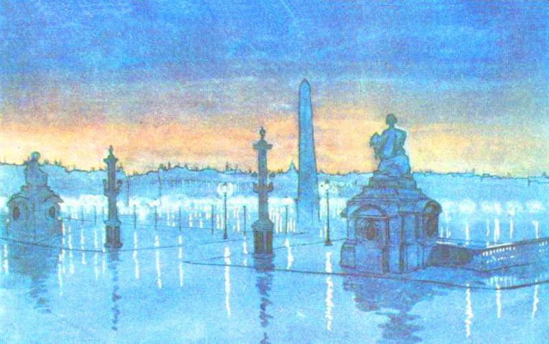 Mаксіміліан Волошин. Париж, алоща Згоди вночі, 1914 р., папір, темпера