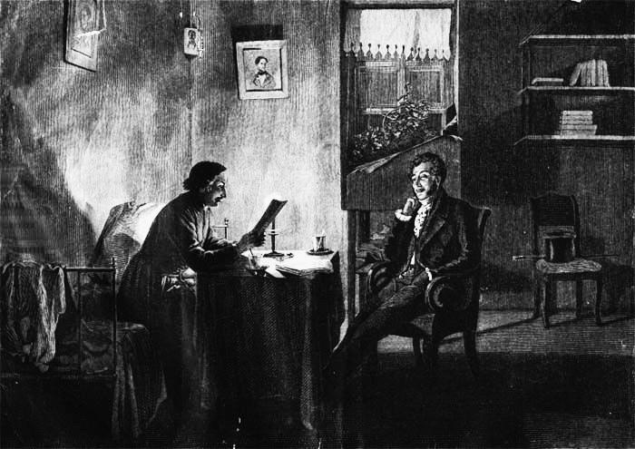 Пушкин у Гоголя. Картина академика Михаила Клодта, 1887 г.