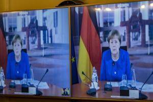 Merkel nimmt per Videoschalte an Treffen zwischen Selenskyj und Macron