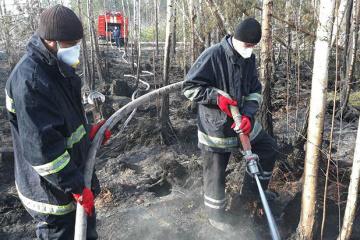 チョルノービリ立入制限区域の森林火災鎮火