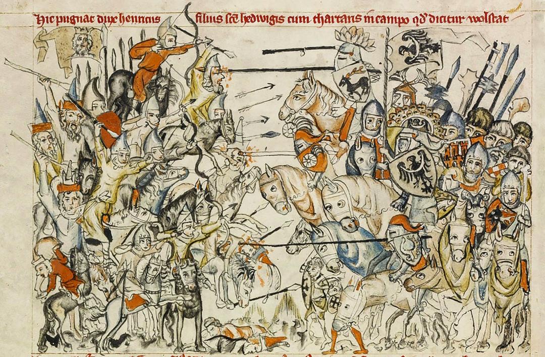 Битва при Легниці, середньовічний ілюстрований рукопис, 1241 рік. Джерело: J. Paul Getty Museum