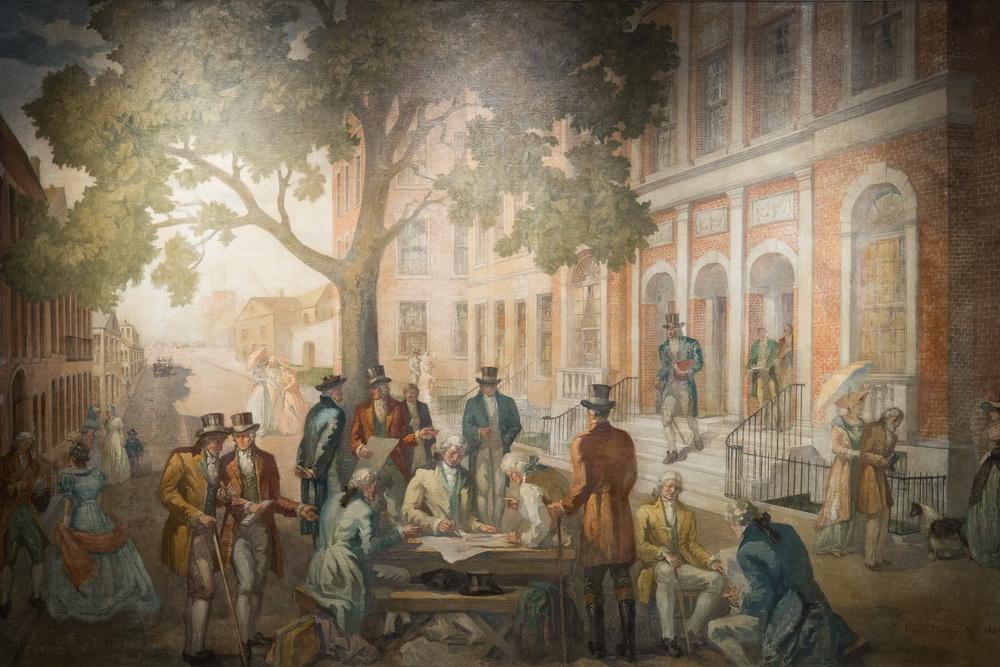 Знімок фрески підписання угоди про біржу в Нью-Йорку