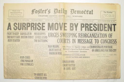 Білль про реорганізацію судової системи США, запропонований Рузвельтом, не був підтриманий