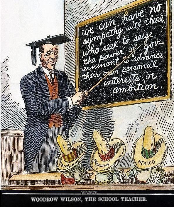 Президент США Вудро Вільсон навчає латиноамериканських політиків. Карикатура The Wall Street Journal, 1911 р.