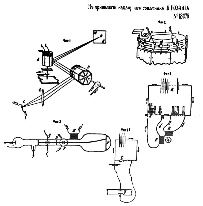 схема електричної передачі зображень Б.Л.Розинга, 1907 р.