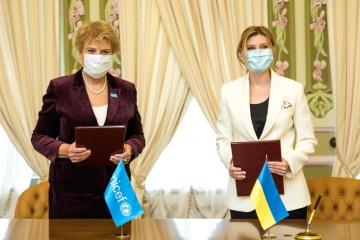 Olena Zelenska y UNICEF en Ucrania firman un Memorándum de Entendimiento